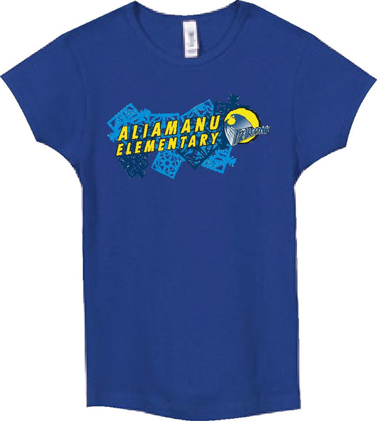Aliamanu Elementary School - Jr. Girls Tee - Royal Blue