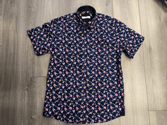 Dark Collared Shirt With Pink Flowers