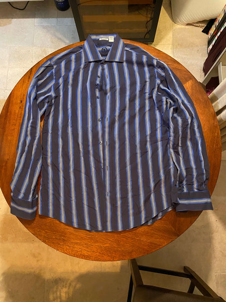 Bugatchi Uomo Dark Blue Long Sleeve Dress Shirt (Tailoring Included)