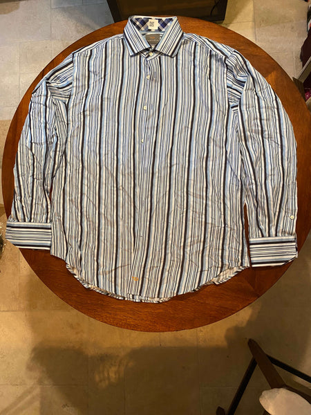 Thomas Dean Long Sleeve Dress Shirt With Blue and Black Vertical Stripes (Tailoring Included)