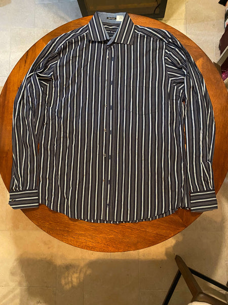 Bugatchi Uomo Dark Blue Long Sleeve Dress Shirt with Vertical Stripes (Tailoring Included)