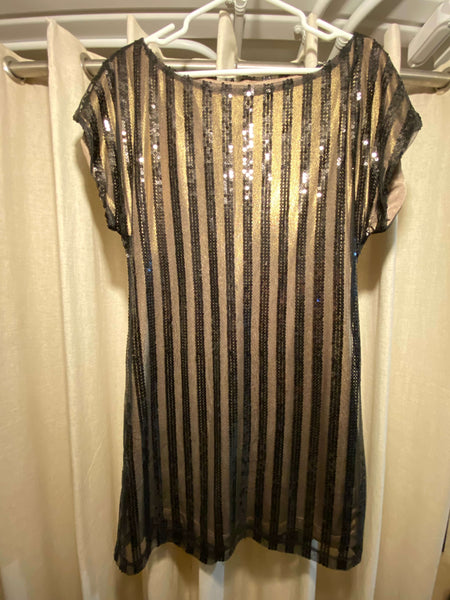 Love Tease Gold Dress with Vertical Sequin Stripes (Tailoring Included)