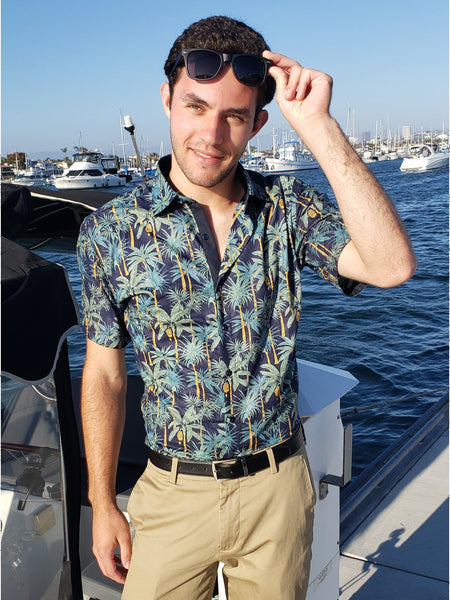 Le Lac Dark Collared Shirt With Green Palm Trees - Never Worn (Tailoring Included)
