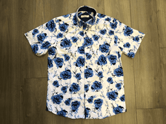 Light Collared Shirt With Blue Flowers