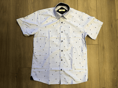 Le Lac Light Collared Shirt With Palm Trees - Never Worn (Tailoring Included)