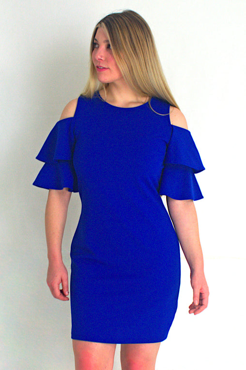 Pose Cold Shoulder Royal Blue Dress - Never Worn (Tailoring Included)