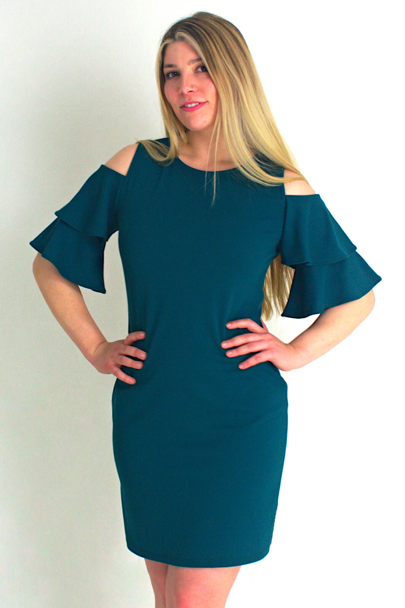 Pose Cold Shoulder Teal Dress - Never Worn (Tailoring Included)