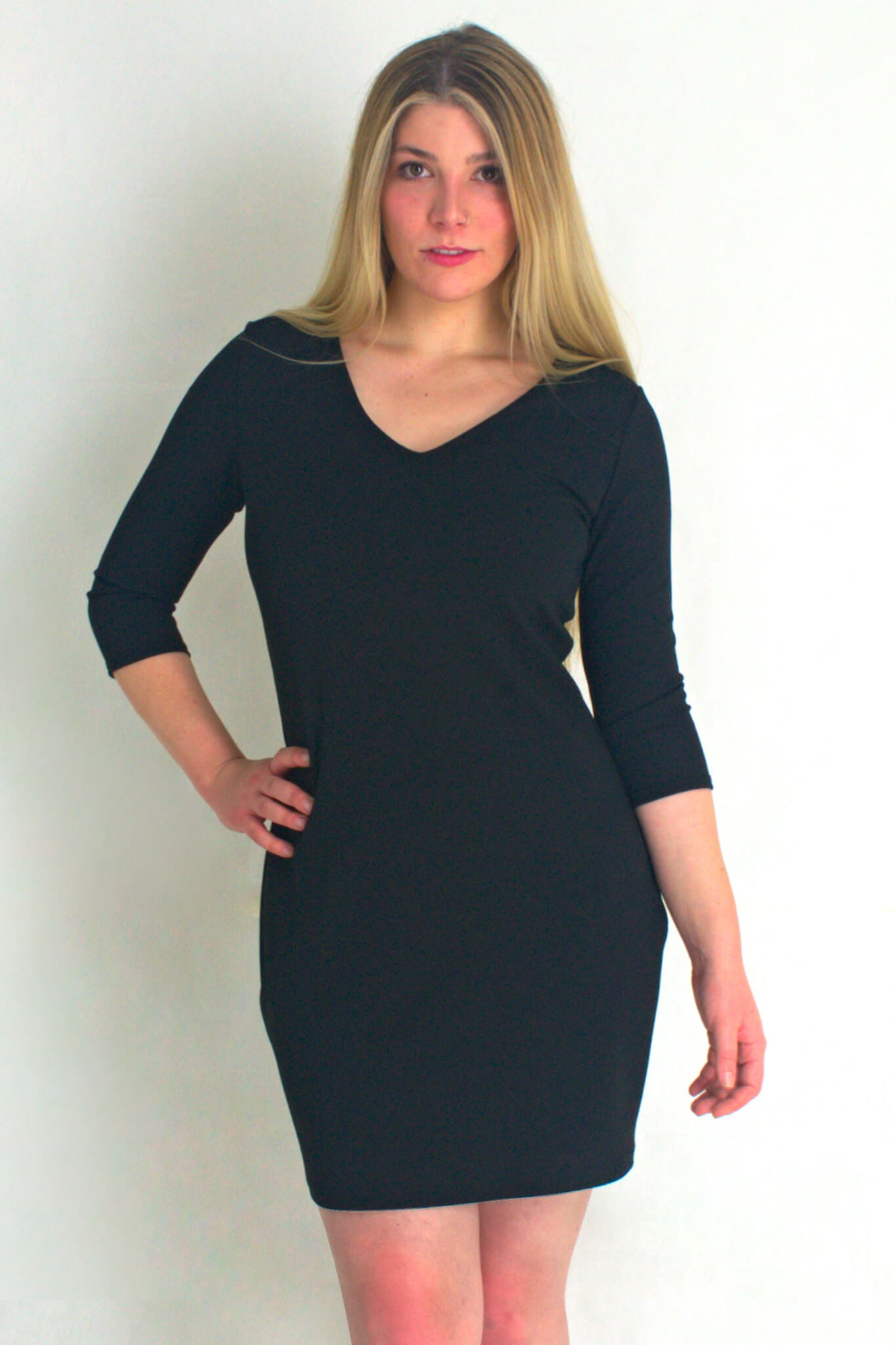 V Neck Dress with 3/4 Sleeves - Black