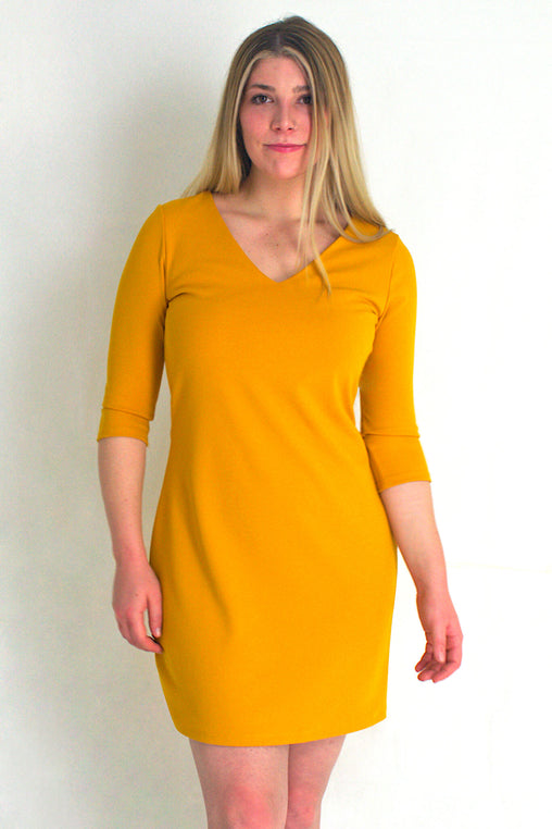 Pose V Neck Dress with 3/4 Sleeves Mustard - Never Worn (Tailoring Included)