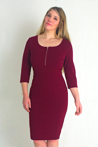 Zipper Neck Dress With 3/4 Sleeves - Burgundy