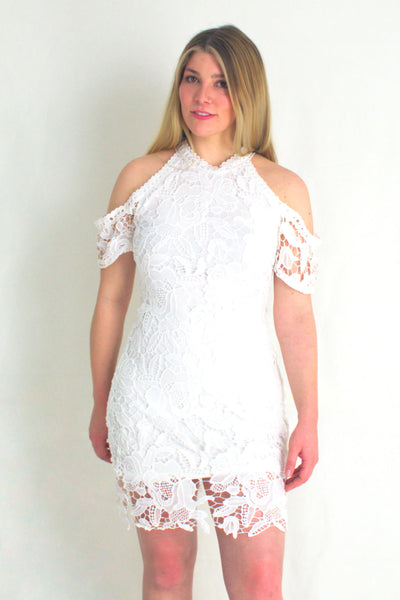 Lace Cold Shoulder - White Dress
