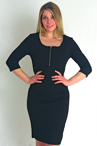 Zipper Neck Dress with 3/4 Sleeves - Black