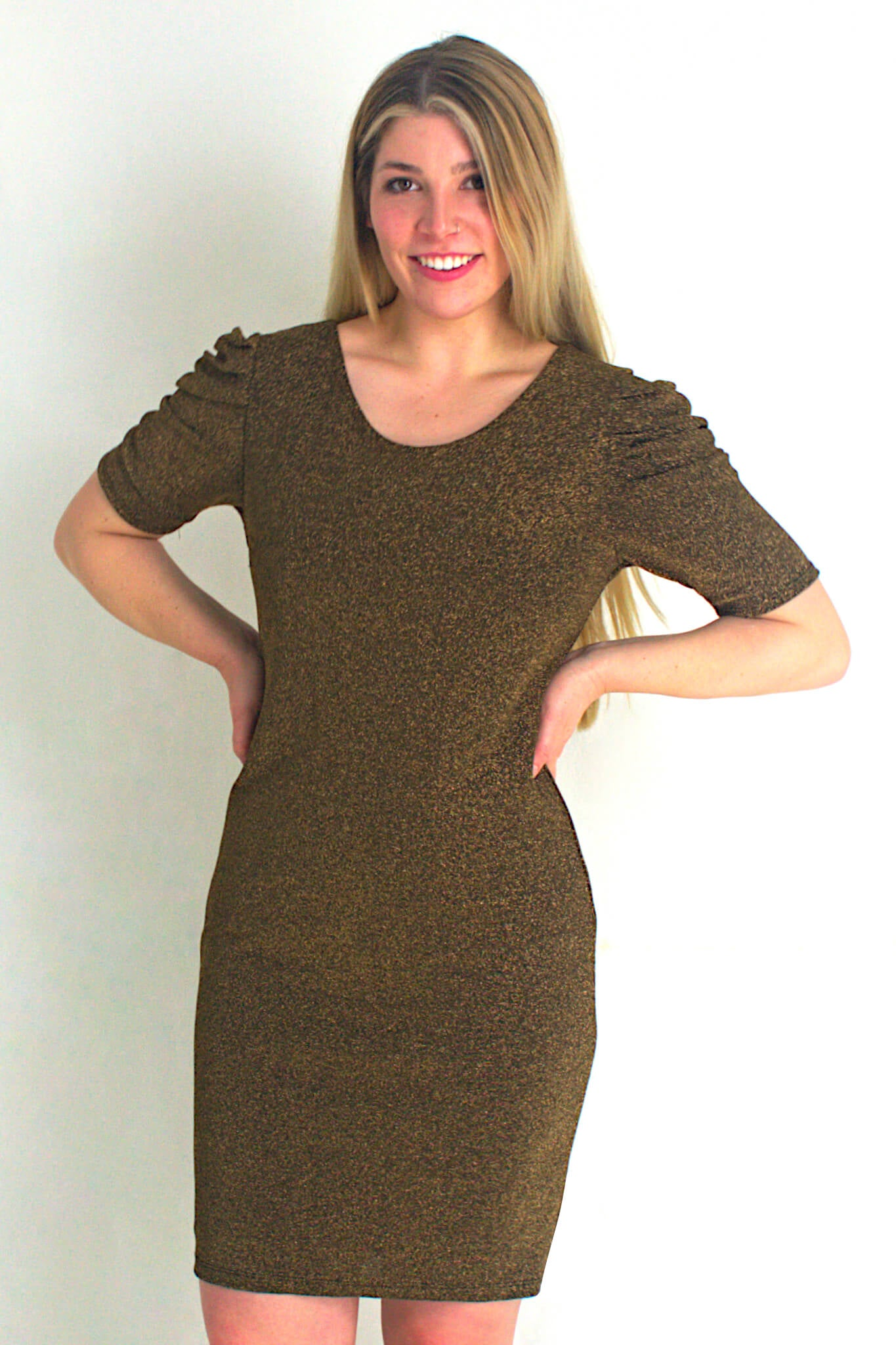 Gold Shimmer Dress with Ruffled 3/4 Sleeves