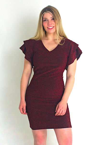 Red Shimmer Cap Sleeve Dress