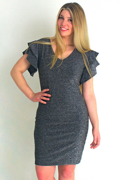 Silver Shimmer Cap Sleeve Dress