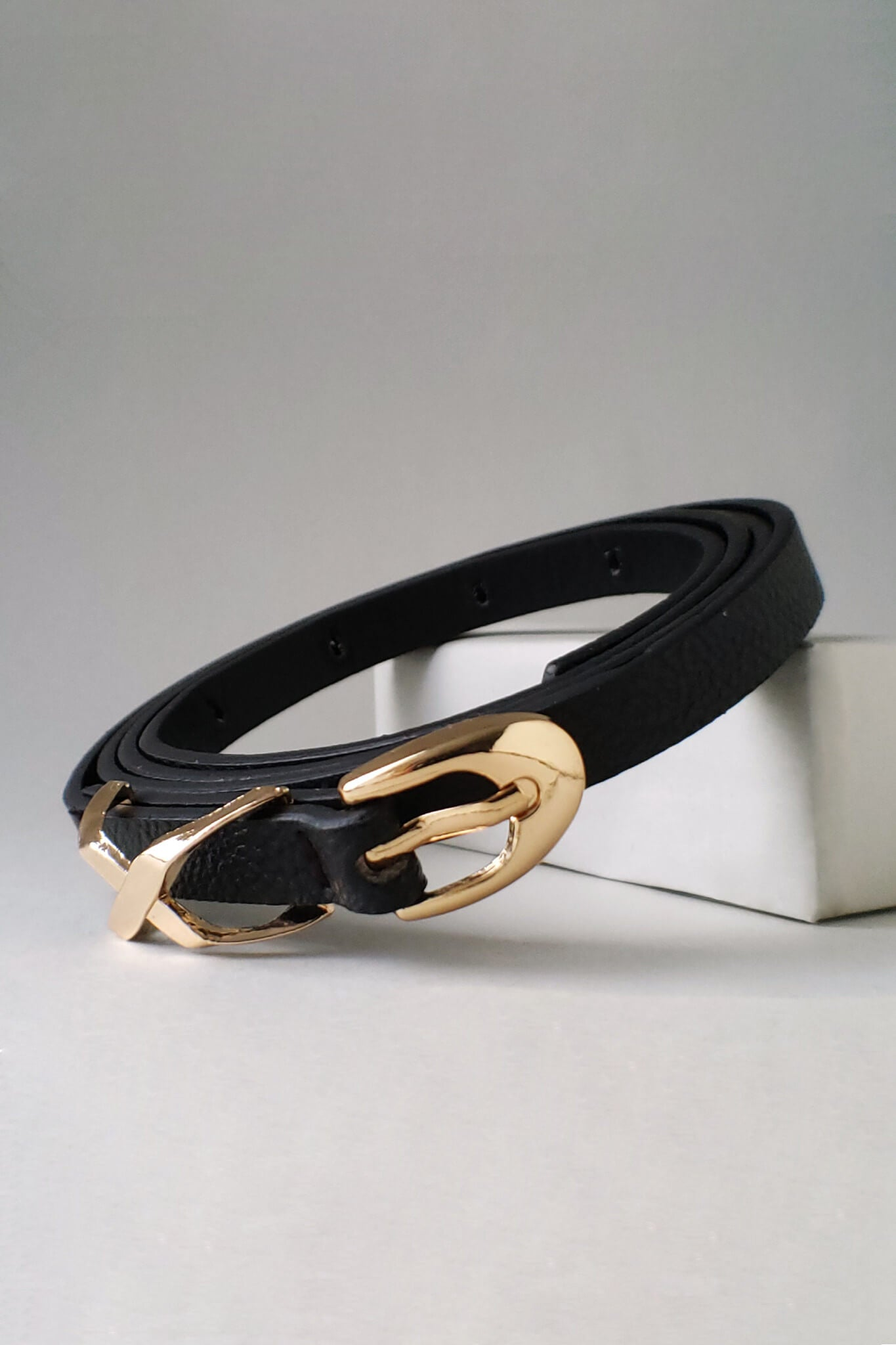 Black Faux Leather Belt With Gold Crosshatches