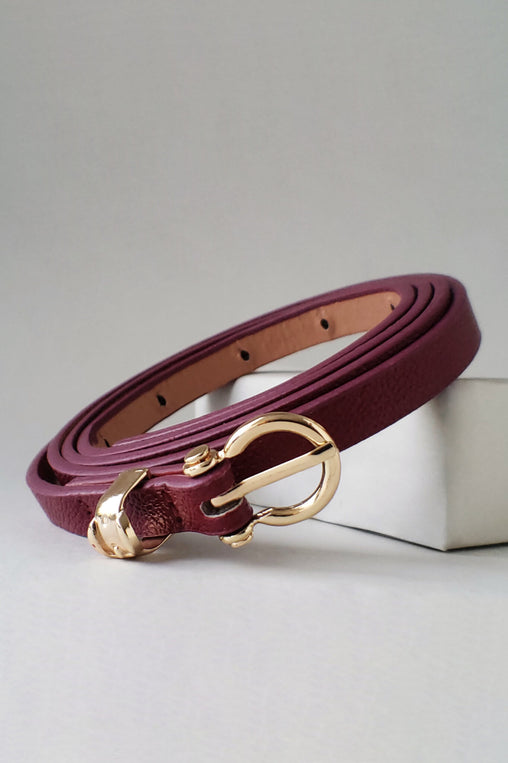 Burgundy Faux Leather Belt With A Gold Ring Loop