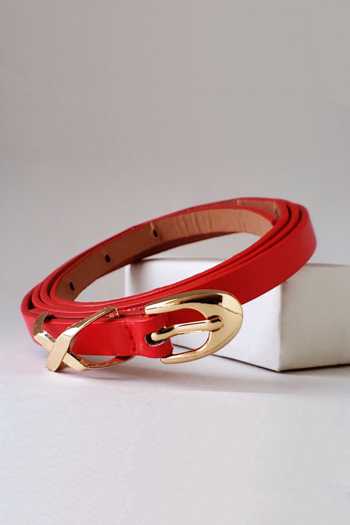 Red Faux Leather Belt With Gold Crosshatches