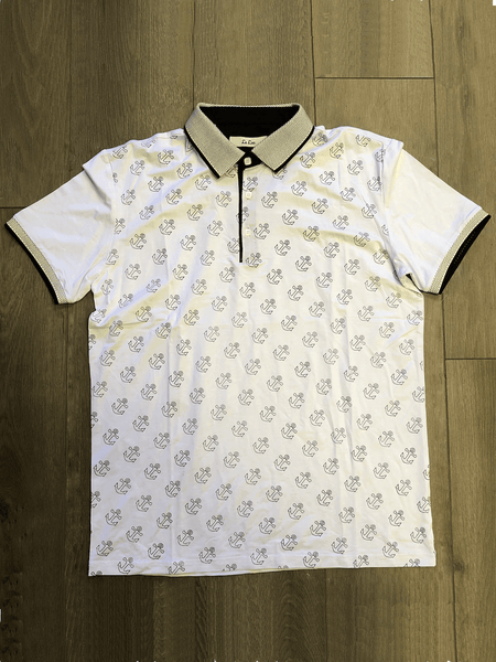 Le Lac White Polo With Black Anchors - Never Worn (Tailoring Included)