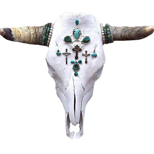 Child of Wild Bones Turquoise Redemptions Cow Skull