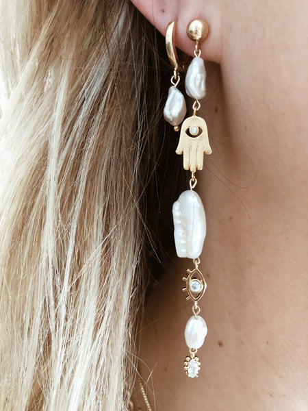 Dona Italia Jewelry Small Alexandria Small Pearl Earrings