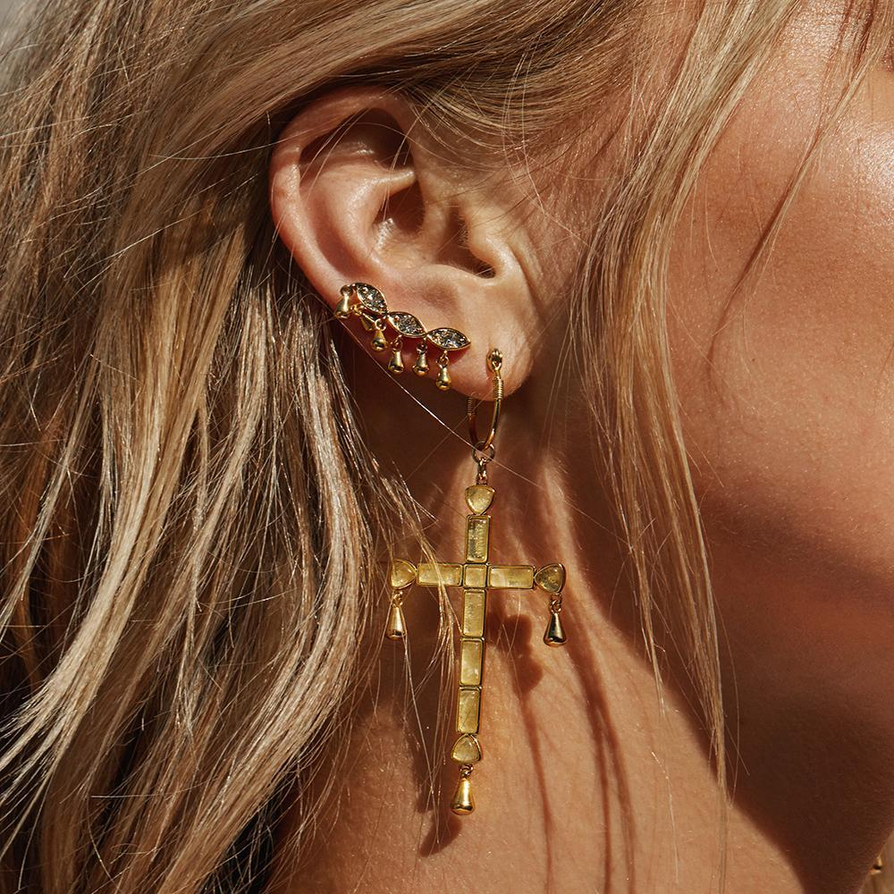 LUV AJ Jewelry Quartz Cross Statement Hoops
