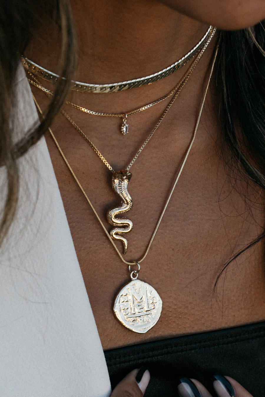 Dona Italia Jewelry Gold / 18 Inches Cortez Coin Necklace
