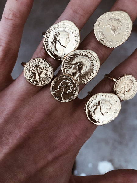 Goddess Jewelry US 5.5 / Gold Athena Coin Ring