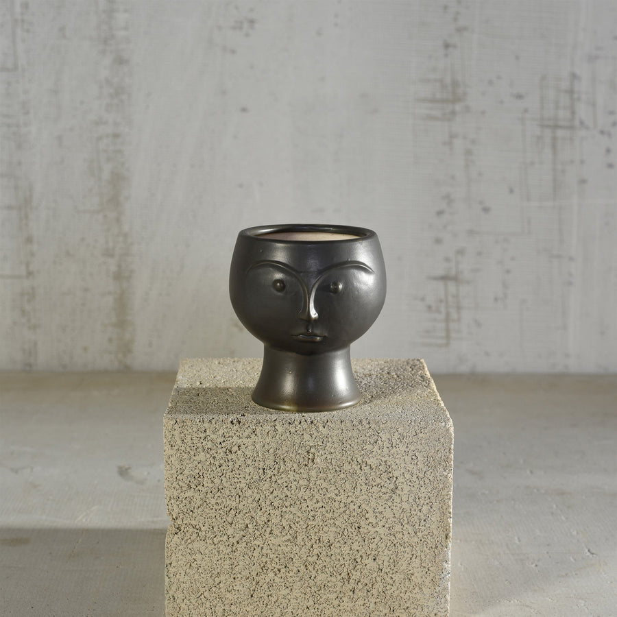 Homart Objects Black Rory Ceramic Face Vase