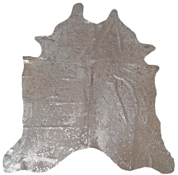 BS Trading Co Objects 5' x 4.5' / Silver / FINAL SALE Metallic Silver Cowhide