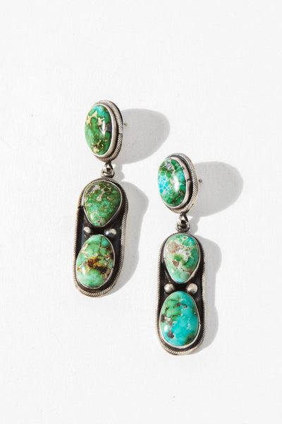 Vintage Native American dead stock Sterling Silver Lonely Desert Turquoise Earrings