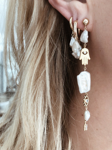 CGM Jewelry Gold Malocchio Pearl Earrings