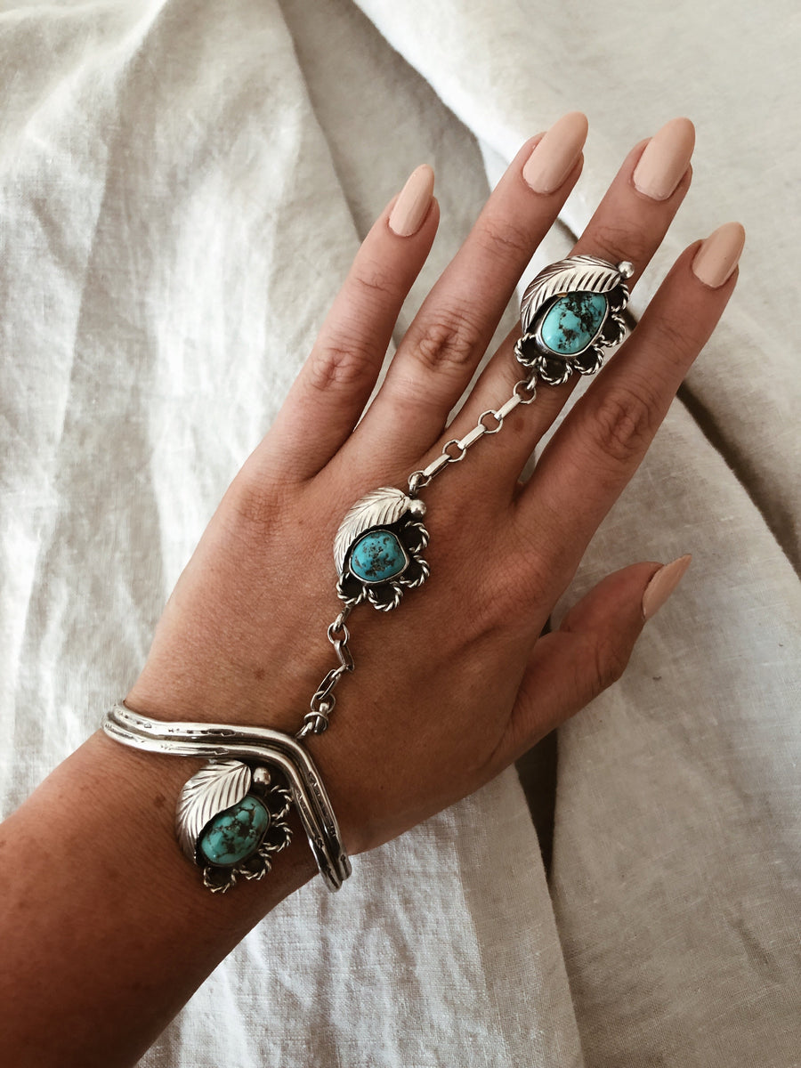Ayman Jewelry Silver / US 5.5 / Turquoise Earth Guidance Vintage Navajo Cuff and Ring Hand Chain