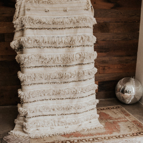 "Morocco Objects 6'4"" x 4' / White / FINAL SALE Moroccan Sunrise Wedding Blanket"