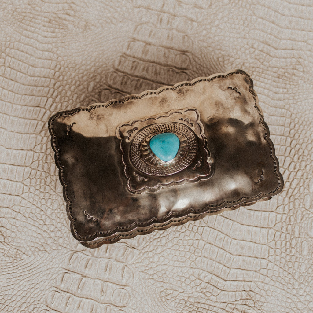 J. Alexander Objects Silver / FINAL SALE Turquoise Keepsake Box
