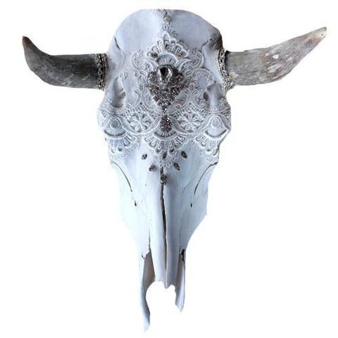 Ethereal Dreams Lace Cow Skull