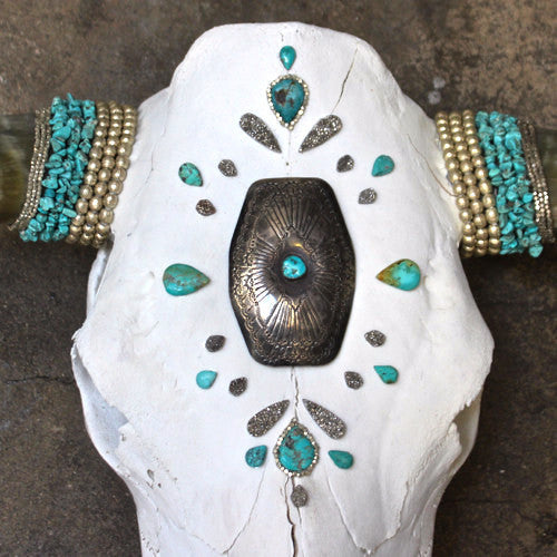 Summer Solstice Turquoise Cow Skull - Child of Wild  - 1