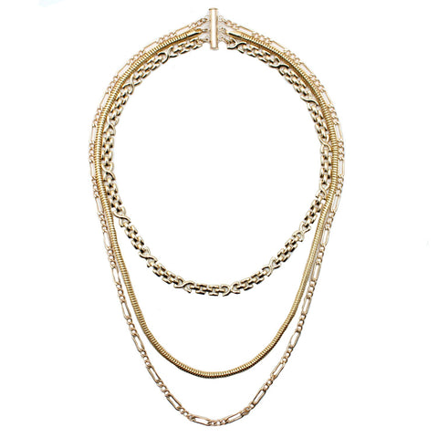 CGM Jewelry Gold / 18 Inches Deco Layered Necklace