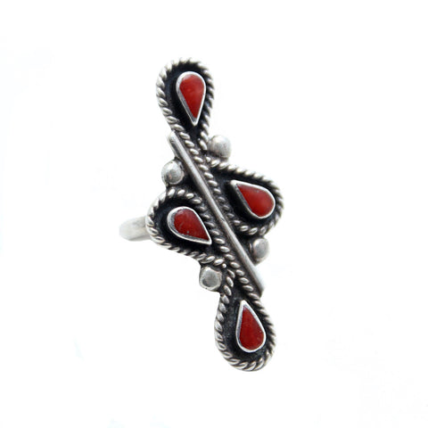 Coral Feather Native American Ring