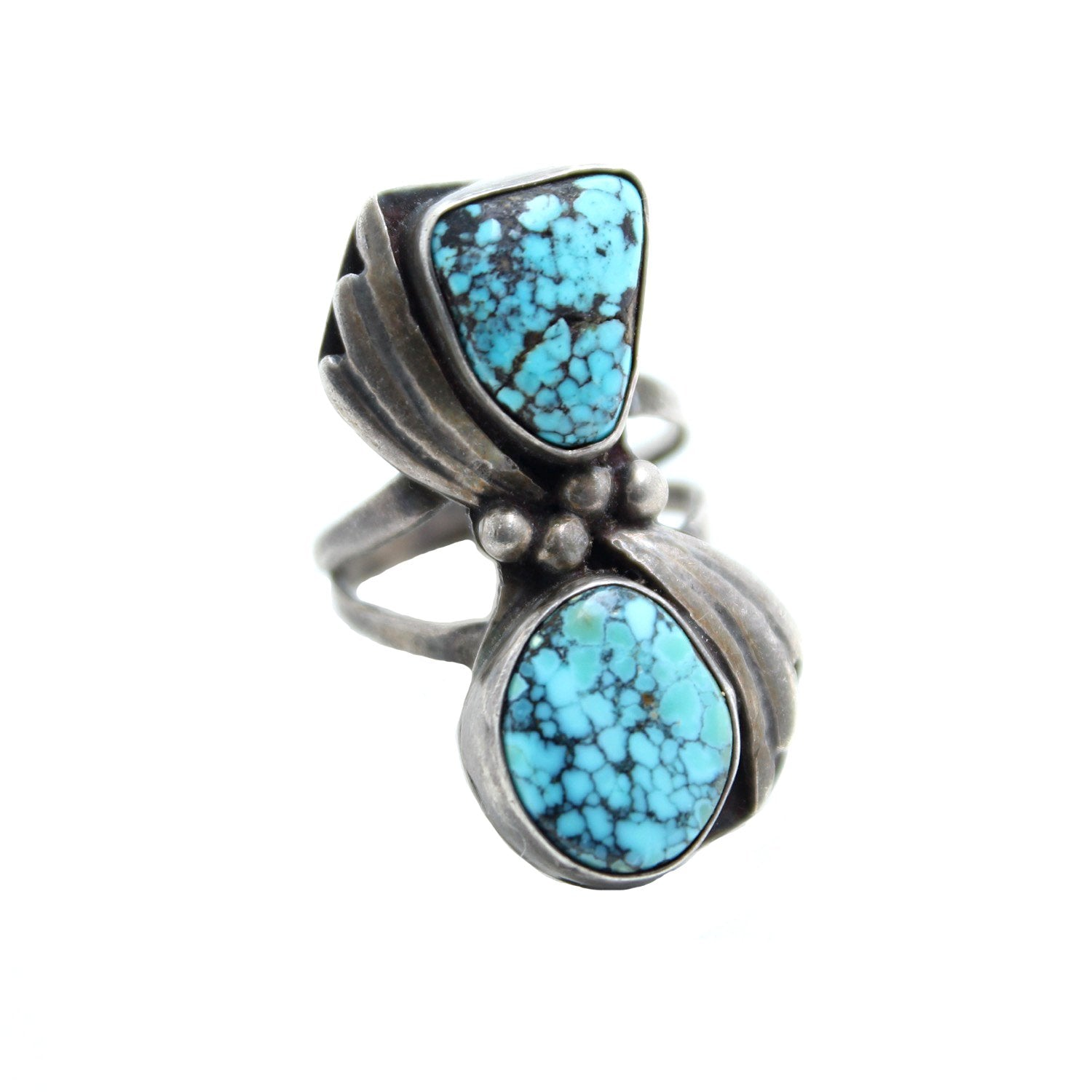 stone silver set braided ring turquoise rings pin braid with