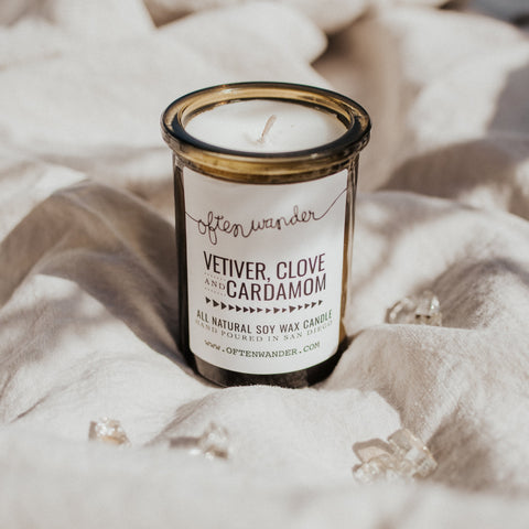 Often Wander Objects 6 oz / Vetiver, Clove, & Cardimom / FINAL SALE Vetiver, Clove, & Cardimom Apothecary Candle