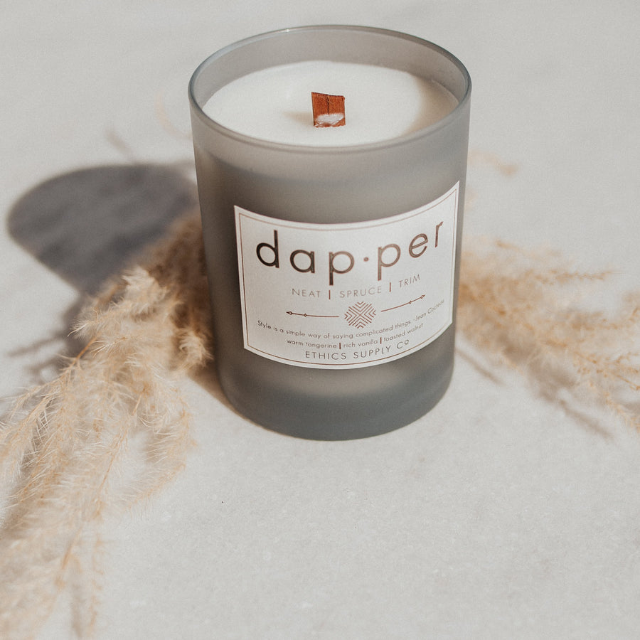Ethics Supply Co Objects Infused with Warm Tangerine, decadent Rich Vanilla & satisfying Toasted Walnut / FINAL SALE Dapper Candle