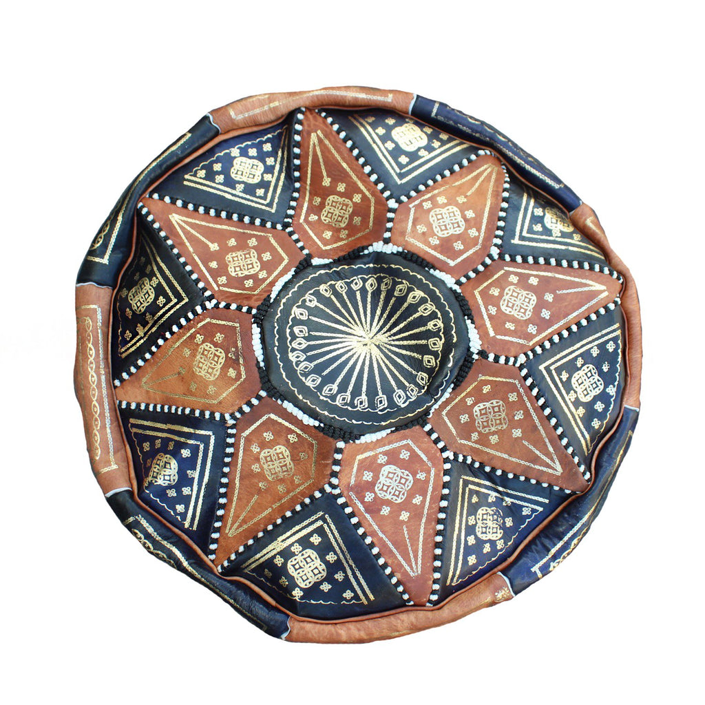 Morocco Objects Leather / FINAL SALE Sahara Sunset Moroccan Pouf