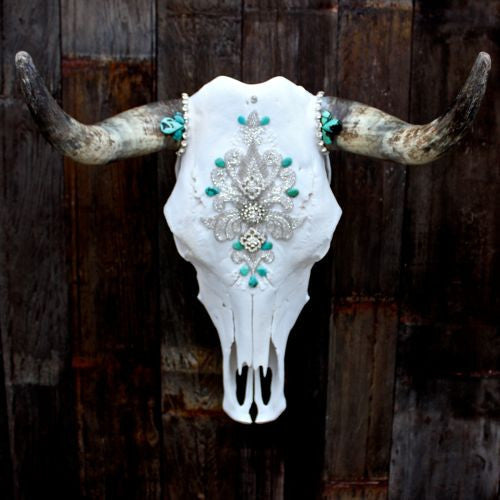 Victorian Turquoise Cow Skull - Child of Wild  - 2
