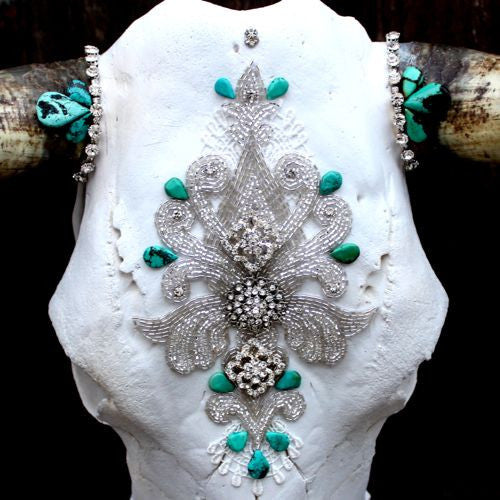 Victorian Turquoise Cow Skull - Child of Wild  - 1