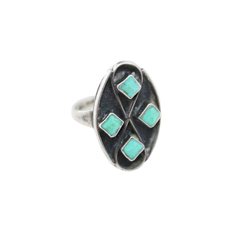 Vintage Native American Jewelry US 7 / Turquoise Diamond Turquoise Vintage Ring