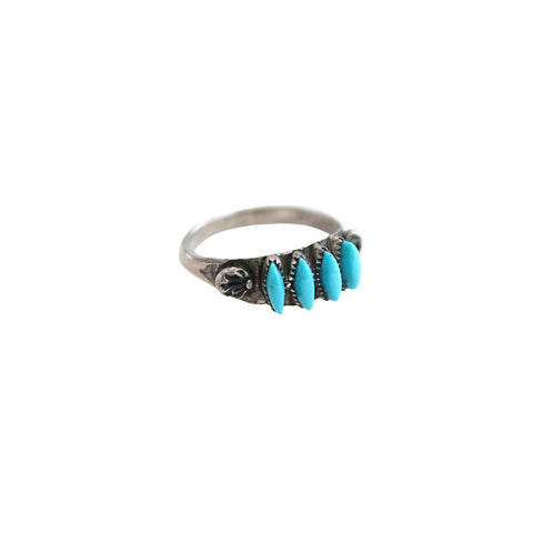 Vintage Native American dead stock Turquoise / US 7 Zuni Love Native American Ring
