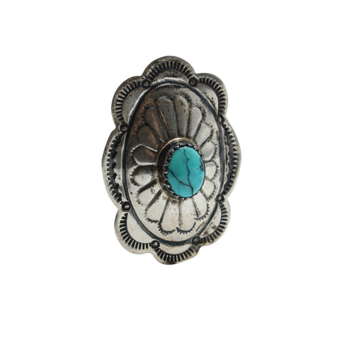 Vintage Native American Jewelry Silver / US 5 Concho Turquoise Native American Ring