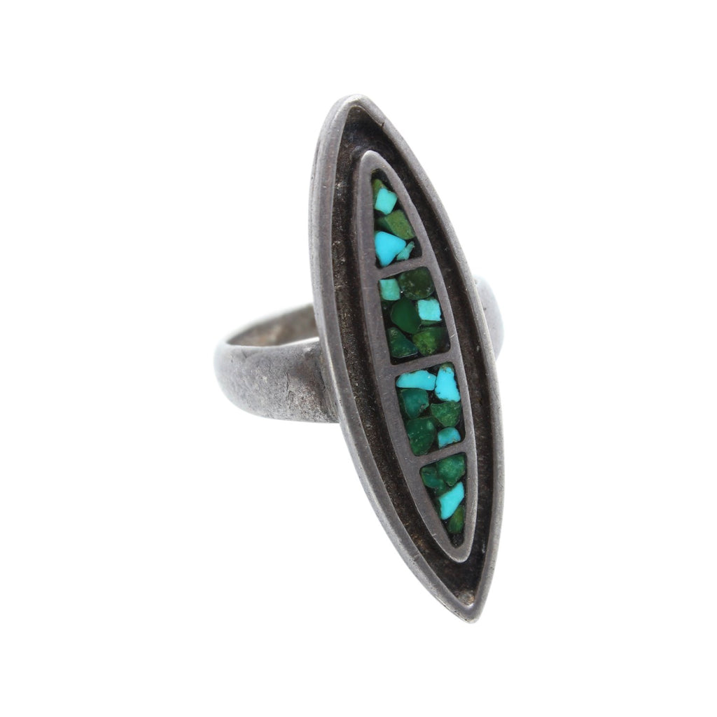 Vintage Native American Jewelry Silver / US 7 Mosaic Turquoise Native American Ring