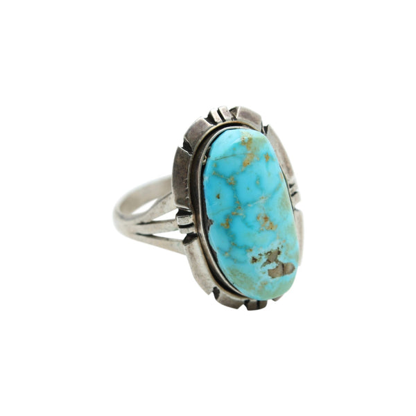 Vintage Native American Jewelry Silver / US 7 Turquoise Drop Native American Ring